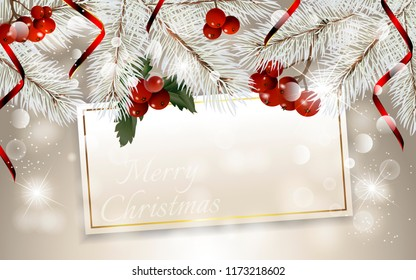 Christmas card with fir branches, christmas berry and red ribbon, with space for text. Vector Christmas design for greeting card, party invitation, holiday sales.
