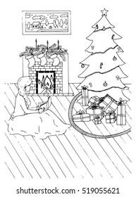 Christmas Card with fireplace, socks and xmas tree