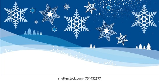 Christmas card with flakes