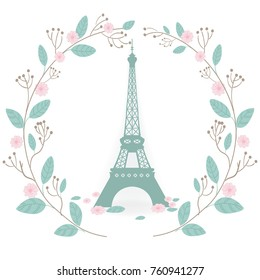 Фотообои Christmas card with floral wreath and Eiffel tower white background. Vector illustration.