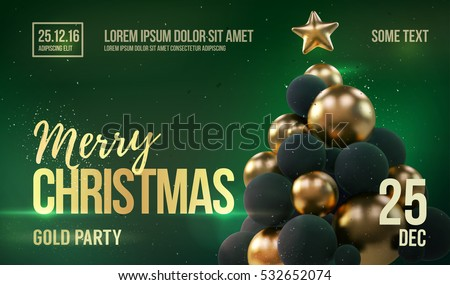Christmas Card Flyer Template Golden Christmas Stock Vector Royalty
