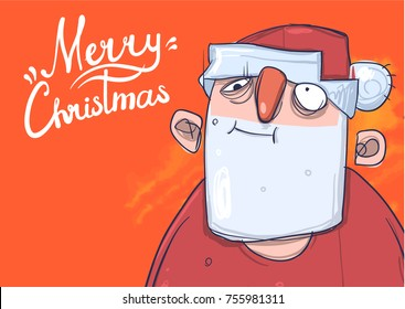Christmas card with funny boozy Santa Claus. Santa Claus got wasted. Lettering on orange background with copy space. Cartoon character vector illustration.