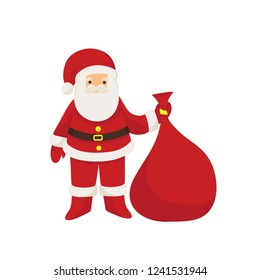 Christmas card. Funny cartoon Santa Claus with huge red bag with presents isolated on white background. Red Santa hat. For Christmas and New Year posters, gift tags and labels