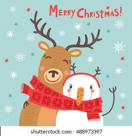 Christmas card. Funny characters. Deer and snowman hugging