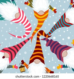 Christmas card with funny gnomes. Scandinavian Christmas. Flat design