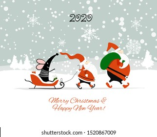 Christmas card with funny mouse and Santa in winter forest, symbol of 2020 year. Vector illustration