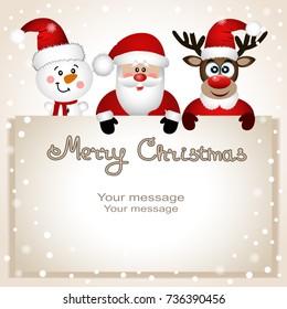 Christmas card. Funny postcard with Christmas reindeer, Santa and snowman. Vector Illustration. Santa