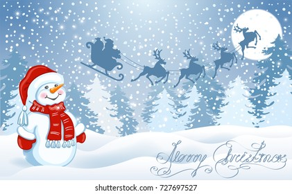 Christmas card with funny Snowman in Santa cap against winter forest background and Santa Claus in sleigh with reindeer team flying in the moon sky. New Year design postcard.