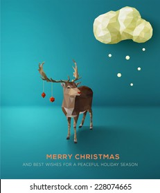 Christmas Card. Geometric polygonal reindeer against blue landscape. Vector Illustration