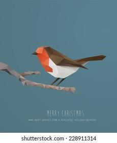 Christmas Card. Geometric polygonal  Robin on a branch. Vector Illustration