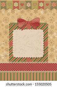 Christmas card with gift box. Dotted tape and celebratory flags. Retro style. Vector illustration.