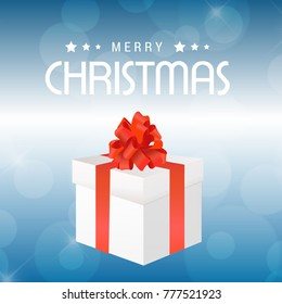 Christmas card with gift box glitters