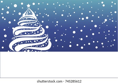 Christmas card.  Gift Card With White Snowflake Christmas tree.