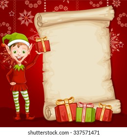 Christmas card with gifts and an elf