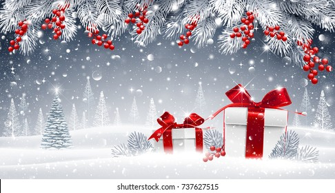 Christmas card with gifts on a winter background of snow-covered forest and spruce branches. Vector illustration