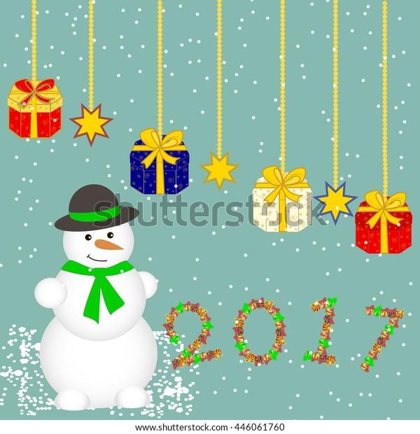 Christmas Card Christmas Gifts Presents Gift Stock Vector