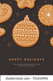Christmas card with gingerbread Christmas ball and inscription Happy Holidays. Template for design of your holiday cards. Vector illustration.