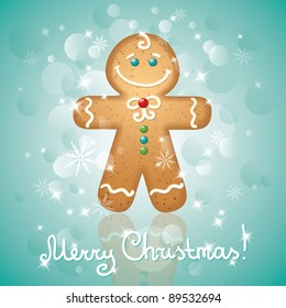 christmas card with a ginger-bread and stars