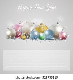 Christmas card with a glowing garland. Bright stars and balls for New Year postcard.