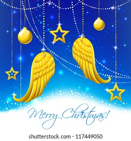 Christmas card with gold angel wings. Merry Christmas angel wings and balls background.   Greeting Card in vector.