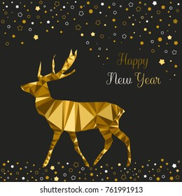 Christmas card with gold deer, new year card with deer and stars