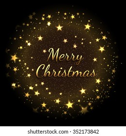 Christmas card with gold star dust on black background