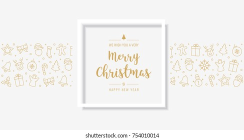 christmas card golden text greeting frame icon elements background