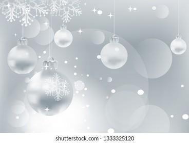 Christmas card, gray background with christmas  balls, vector illustration