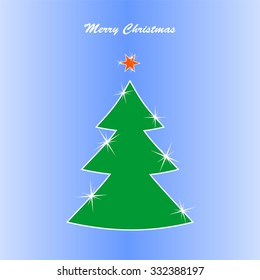 Christmas card with a green Christmas flashing Christmas tree with white contours and red shining star with the words Merry Christmas on a blue background