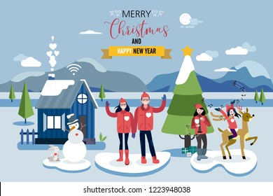 Christmas card greeting. A happy family greets from romantic wooden cabin in a snowy forest, next to the Christmas tree.
