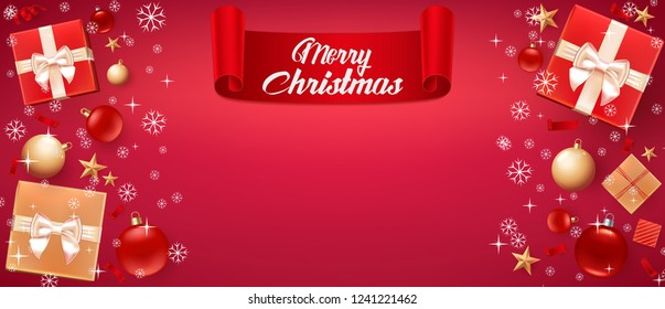 Christmas Card with greeting – Merry Christmas. Illustration with Christmas balls, stars, gift boxes and place for text. Template for Flyer, poster, dinner invitation, banner for promo. Red background