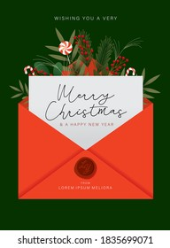christmas card greetings template vector/illustration