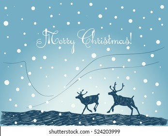 Christmas card hand drawn couple of running reindeer silhouette on blue winter background