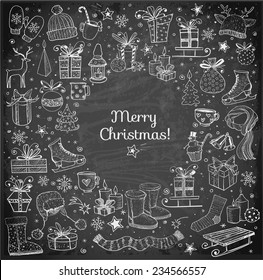 Christmas card with hand-drawn snowflakes, snowman, lanterns, gift boxes and candles on blackboard. Vector chalk sketch illustration. Doodle christmas card.
