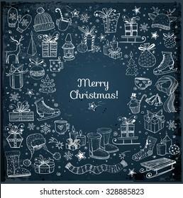 Christmas card with hand-drawn snowflakes, snowman, lanterns, gift boxes and candles on dark blue night background. Vector sketch illustration. Doodle christmas card.