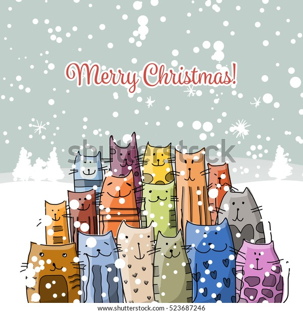 Christmas Card Happy Cats Family Stock Vector (Royalty Free