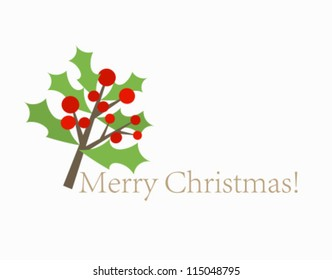 Christmas card with holly berry branch. Vector illustration
