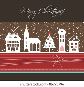 Christmas card with houses and tree, vector