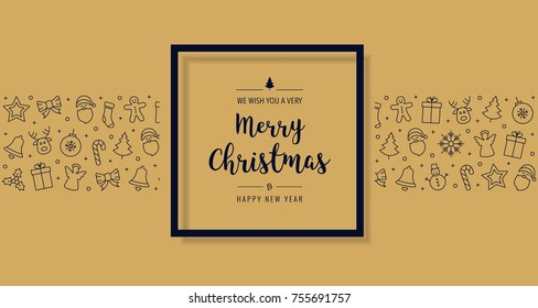 christmas card  icon elements text greeting black frame golden background
