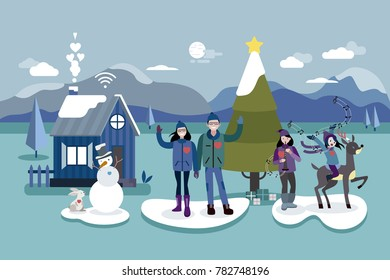 Christmas card illustration. A happy family greets from their home in a snowy forest, next to the Christmas tree.