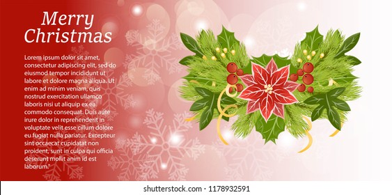 A Christmas card with an inscription decorated with a composition of amelia, fir branches, glare, garlands, Christmas balls and ribbons. The illustration is made in red, gold and green colors.