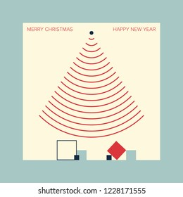 Christmas card inspired by wireless technologies. EPS10 with layers, easy to edit. Minimal aesthetics. Vector illustration.
