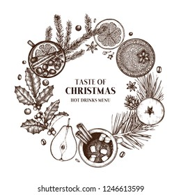 Christmas card or invitation design. Vector wreath with winter drinks drawings. Hand sketched tea, mulled wine, cocoa, fruits, spices, coffee and hot chocolate. Vintage food and beverages template.