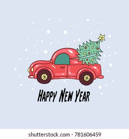 Christmas card or invitation flyer with christmas car. Vector Illustration