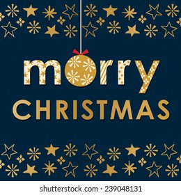 Christmas card, invitation or menu design with Christmas bauble and border pattern of stars and snowflakes in cream and gold on navy background. Text reads Merry Christmas.
