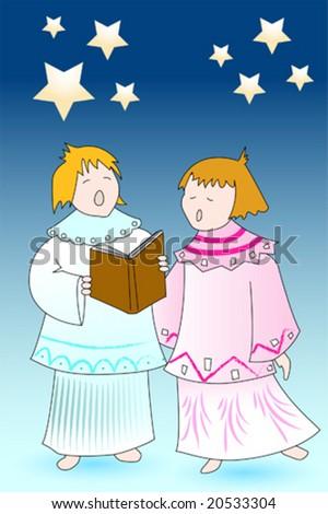 Christmas Card Kids Angels Singing Stock Vector (Royalty Free