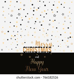 Christmas card with lettering, gold and black stars and confetti