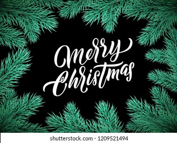 Christmas card lettering on black background with green Christmas tree branches frame