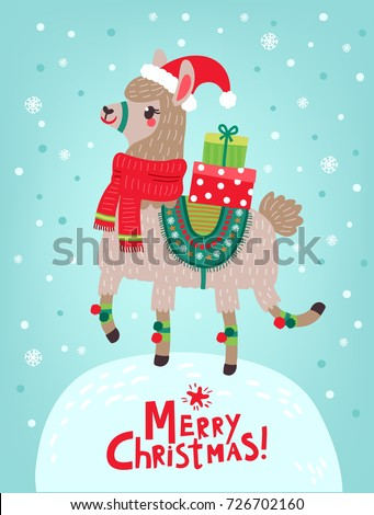 Christmas card with llama. Merry Christmas card