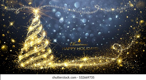 Christmas card with Magic Tree and flickering lights. Vector illustration
